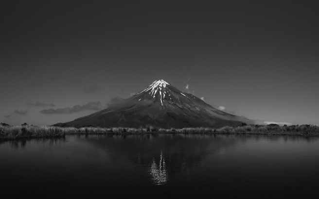 grayscale photo of volcano